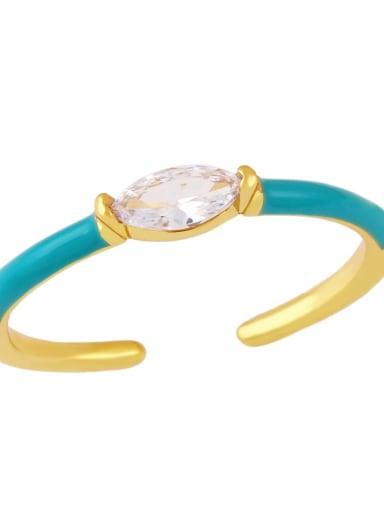 blue Brass Enamel Cubic Zirconia Geometric Minimalist Band Ring