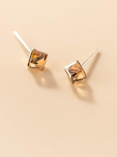 925 Sterling Silver Crystal Geometric Minimalist Stud Earring