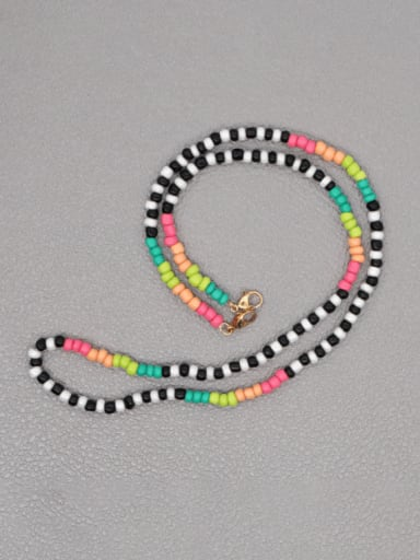 GZ N200023A Stainless steel Bead Multi Color Evil Eye Bohemia Hand-woven Necklace