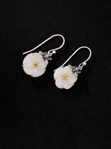925 Sterling Silver Jade Flower Vintage Hook Earring
