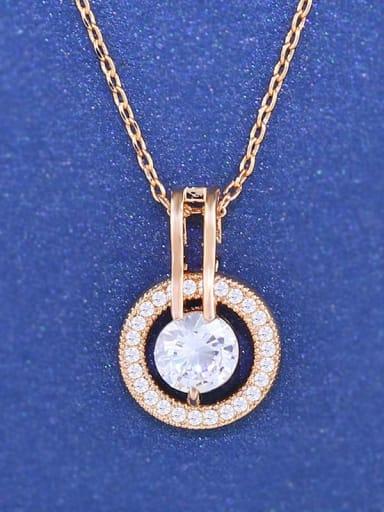 golden Alloy Cubic Zirconia Heart Minimalist Necklace