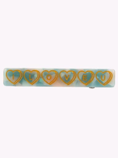 blue Alloy  Cellulose Acetate Minimalist Geometric Hair Barrette
