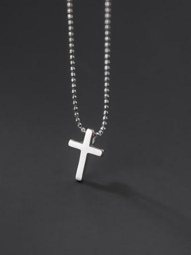 925 Sterling Silver Bead Cross Minimalist Necklace