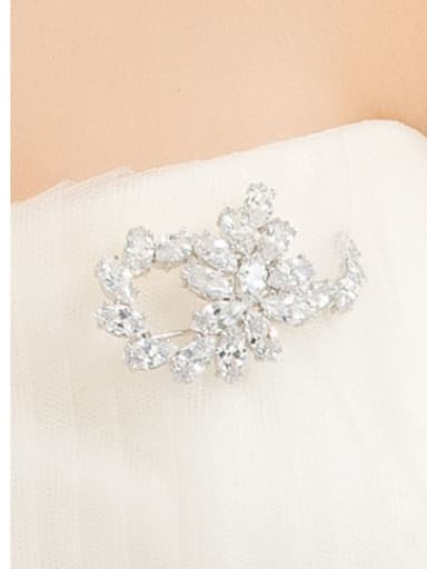 Copper Cubic Zirconia Flower Luxury Brooch
