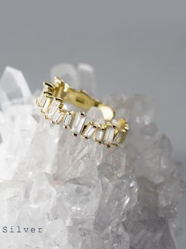Gold 925 Sterling Silver Cubic Zirconia Irregular Minimalist Band Ring