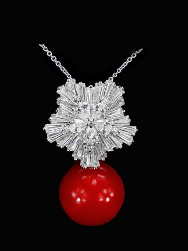 Red Pearl Brass Cubic Zirconia Flower Dainty Necklace