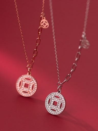 925 Sterling Silver Cubic Zirconia Coin Ethnic Necklace