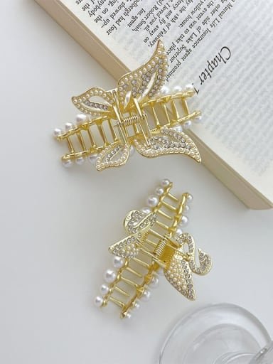 Alloy Imitation Pearl Trend Butterfly  Jaw Hair Claw