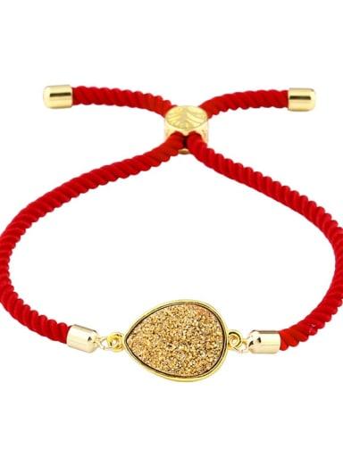 Red rope gold Leather Geometric Minimalist Adjustable Bracelet