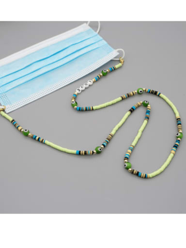 RT N200003A Stainless steel Glass  Bead Multi Color Acrylic Letter Bohemia Necklace