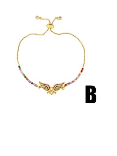 B Brass Cubic Zirconia Letter Vintage Bracelet
