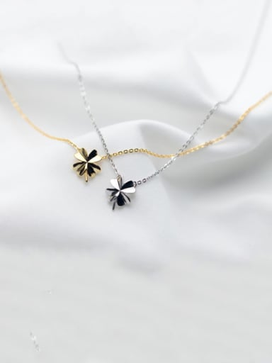 925 Sterling Silver Smooth Flower Minimalist Necklace