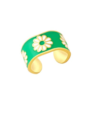 green Brass Enamel Flower Hip Hop Band Ring