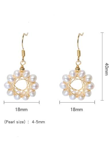 Brass Freshwater Pearl Geometric Minimalist Hook Earring