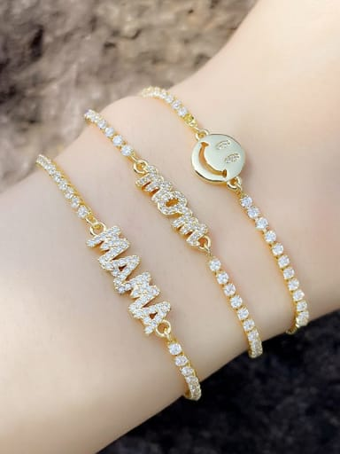 Brass Cubic Zirconia Letter Minimalist Adjustable Bracelet