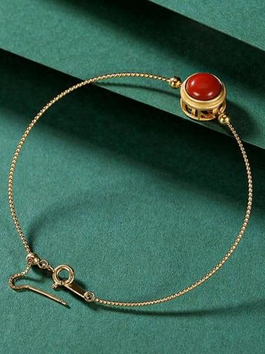 Bracelet (including pendant) 925 Sterling Silver Carnelian Round Minimalist Bracelet
