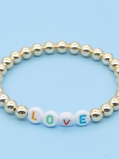 QT B200204E Stainless steel Bead Multi Color Letter Bohemia Stretch Bracelet
