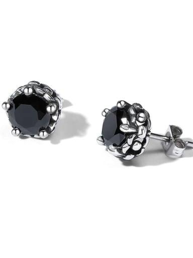 Stainless steel Cubic Zirconia Flower Minimalist Stud Earring