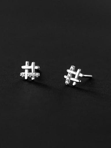 925 Sterling Silver Rhinestone Square Minimalist Stud Earring
