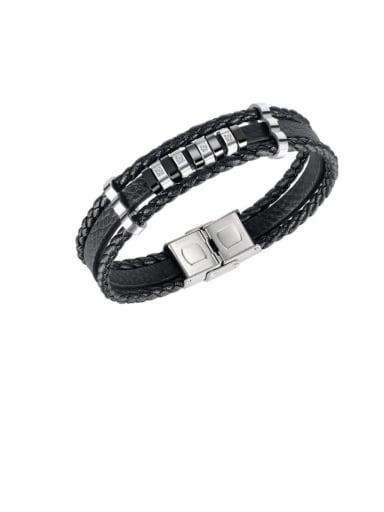 Titanium Steel Leather Geometric Hip Hop Strand Bracelet