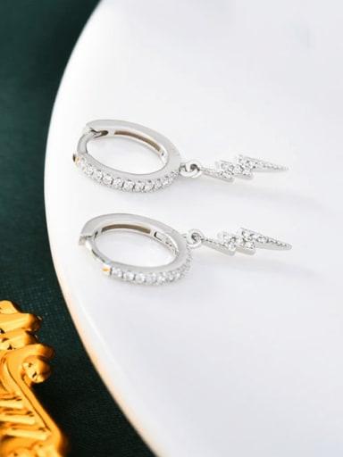 Platinum 925 Sterling Silver Cubic Zirconia Irregular Minimalist Huggie Earring