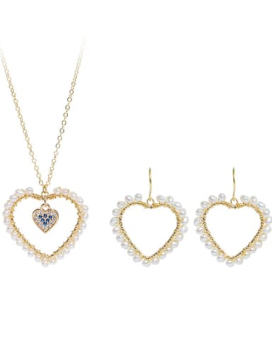 Brass Freshwater Pearl Minimalist Heart  Earring and Necklace Set