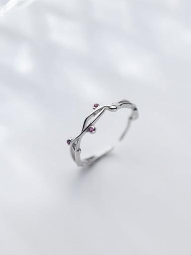 925 Sterling Silver Rhinestone Flower Minimalist Band Ring