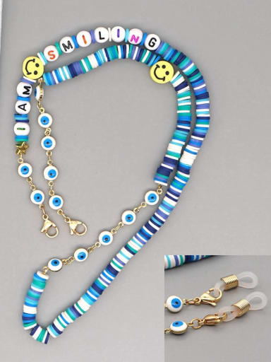 RT N200007C Stainless steel Multi Color Polymer Clay Smiley Bohemia Beaded  Hand-woven Necklace