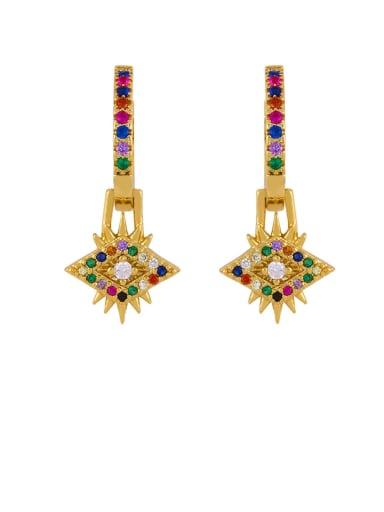 Brass Cubic Zirconia Crown Vintage Huggie Earring