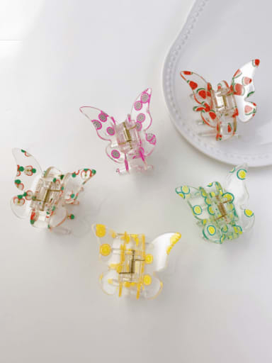 Acrylic Minimalist Butterfly Alloy Multi Color Jaw Hair Claw