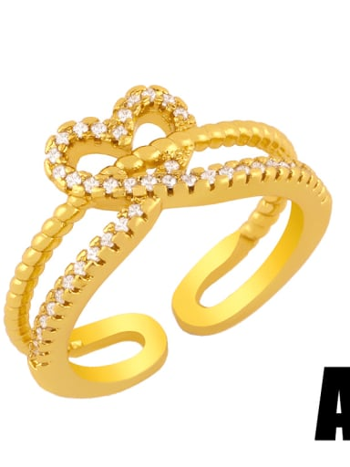 A Brass Cubic Zirconia Heart Vintage Midi Ring