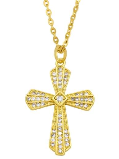 C Brass Cubic Zirconia Cross Ethnic Regligious Necklace