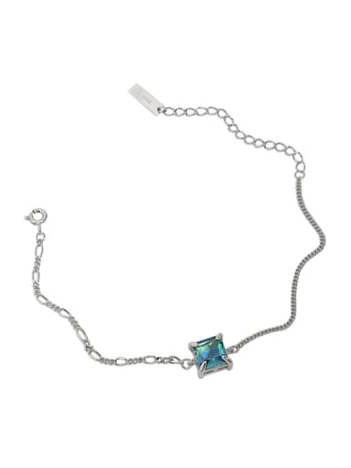 White gold [Turquoise] 925 Sterling Silver Glass Stone Geometric Vintage Link Bracelet