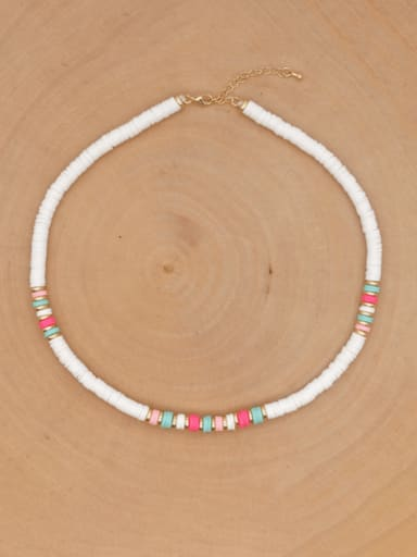 QT N200018C Stainless steel Multi Color Polymer Clay Bohemia Weave  Necklace