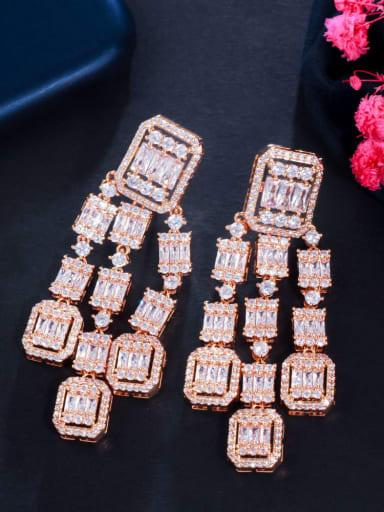 golden Brass Cubic Zirconia Geometric Luxury Drop Earring