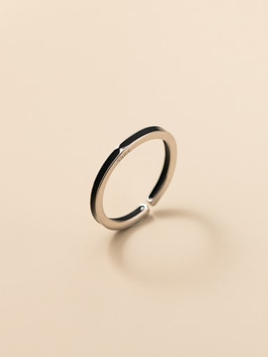 925 Sterling Silver Enamel Round Minimalist Band Ring