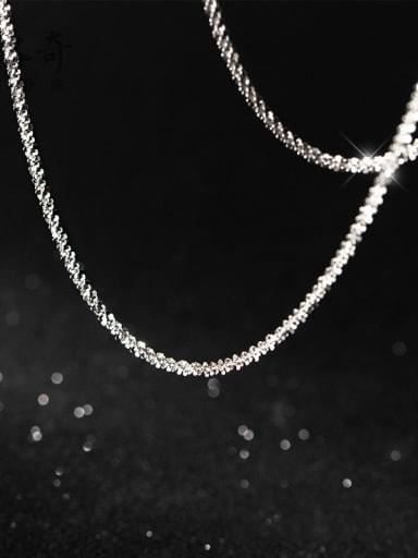 925 Sterling Silver Irregular Minimalist Twisted Serpentine Chain
