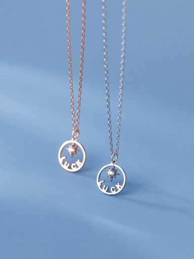 925 Sterling Silver Cubic Zirconia Letter Minimalist Necklace