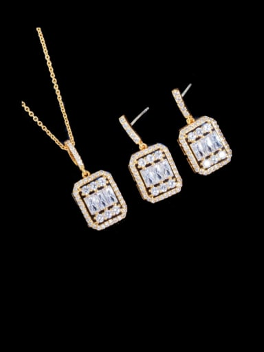 Gold two piece set Brass Cubic Zirconia Luxury Geometric  Earring and Necklace Set