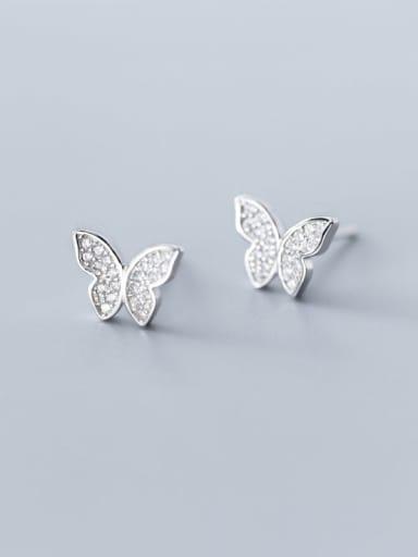 925 Sterling Silver Cubic Zirconia Butterfly Cute Stud Earring