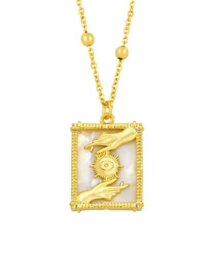 B Brass Shell Geometric Vintage Necklace
