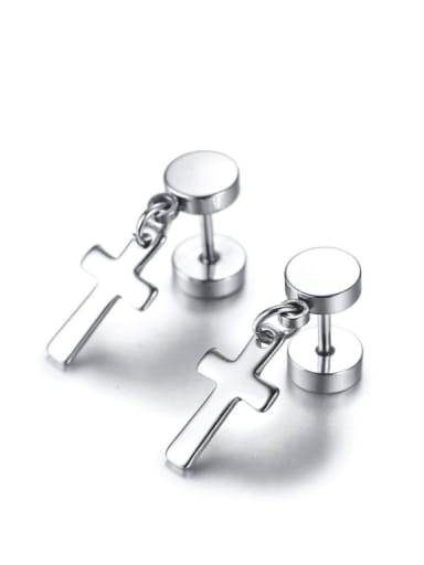 Stainless steel Cross Minimalist Drop Earring