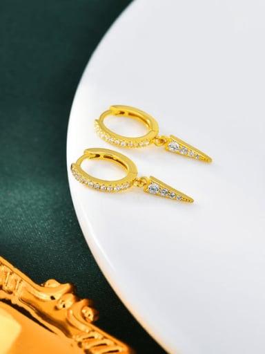 18K gold 925 Sterling Silver Cubic Zirconia Geometric Minimalist Huggie Earring