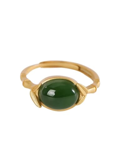 925 Sterling Silver Jade Oval Vintage Band Ring