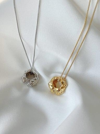 925 Sterling Silver Vintage Hollow Irregular Pendant  Necklace