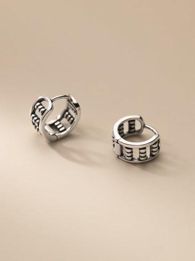 925 Sterling Silver Bead Geometric Vintage Huggie Earring