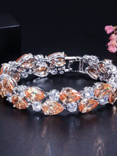 Champagne 19cm Copper Cubic Zirconia Geometric Luxury Bracelet