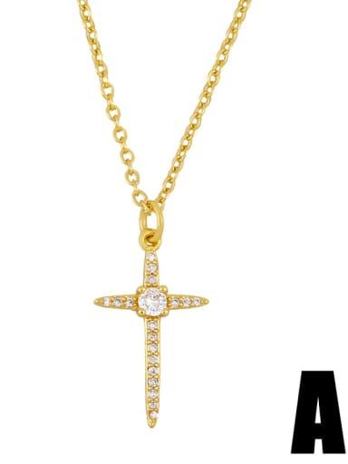 a Copper Cubic Zirconia Cross Vintage Regligious Necklace