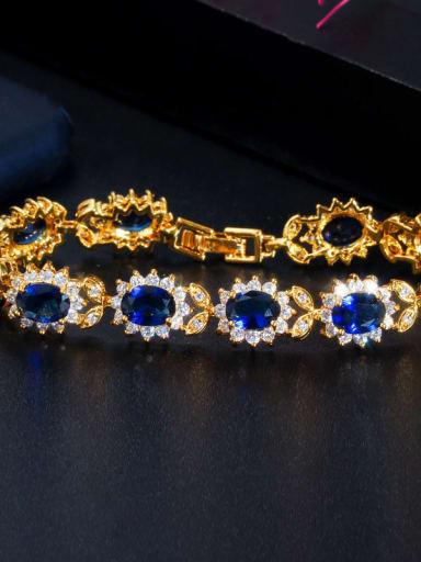 blue Copper Cubic Zirconia Flower Luxury Bracelet