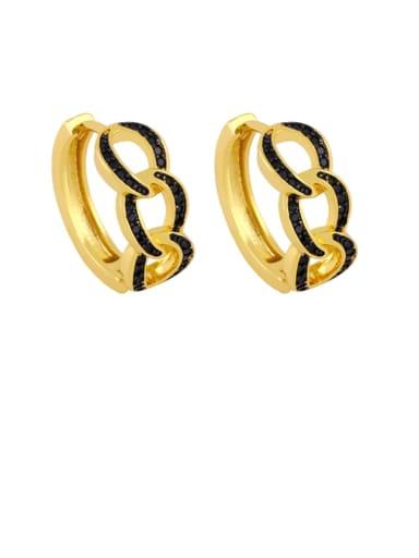 black Brass Cubic Zirconia Geometric Bohemia Stud Earring